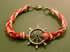 Ship Wheel Charm Bracelet Red and White Sailor by CraftsbyBrittany, $8.00