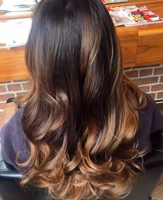Norma Jean used a semi permanent colour to darken the roots and a soft toffee balyage through the ends.Such a beautiful rich natural look. www.dimilo.ie
