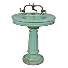 Highly Desirable And Hard To Find Early 1920u0027s Art Deco Mint Green  Porcelain Enameled Barbershop Pedestal Sink