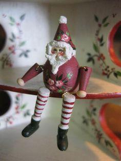 Dollhouse Miniature Artisan Karen Markland Christmas Santa Sitter Toy