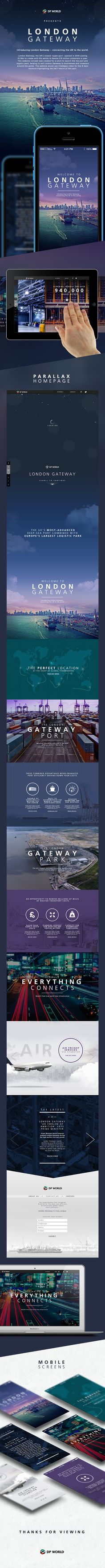 Introducing London Gateway – connecting the UK to the world.This website concept was created for a pitch to launch the the port and logistic park, helping to sell London Gateway to businesses and investors around the globe. Layout Design, Interaktives Design, Web Layout, Site Design, Email Design, Gui Interface, User Interface Design, Webdesign Inspiration, Web Inspiration