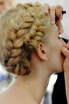 A French braid wrapped around your head!!!!!!!!!!