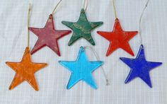 Unique Handcrafted Fused Glass Xmas Star Ornament by LAZFusedGlass,