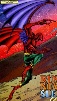 Bloodhawk - a shape-shifting mutant who had been captured by the Synge Casino for being executed in a spectacle. The X-Men then dispatch Krystalin and Meanstreak to free him and invite him to join the team. Bloodhawk refused the offer and choose to work alone, but on occasion joined the X-Men in several battles, and also continued to act as an eco-terrorist. Is a transmorph, able to turn into a leather-winged, demonic-looking creature with a resistance to environmental poisons/pollutants.