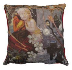 Luxury digitally printed cushion, hand made in Spain that features the famous story The Little Match Girl by Hans Christian Andersen. #hcandersen #cushion #pillow #decor #digitalprint #cushionsale #shop #handmade #buy #art #fairytale #homedesign #print #interiordesign #luxury #story #forbed #girl