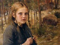 Elin Kleopatra Danielson-Gambogi (Finnish painter, 1861-1919) Knitting