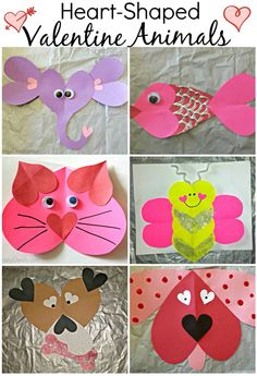 tons of valentines day heart shaped animal crafts for kids valentine art projects make butterfly into bee using yellow and black - Preschool Valentine Craft