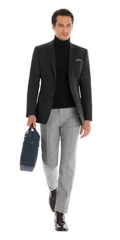 Beach Outfits Discover Gray Check Blazer - Mens Blazers Charcoal Check Blazer Black Shirt and Light Gray Pant Gray Blazer Men, Grey Blazer Outfit, Blazer Outfits Men, Turtleneck Outfit, Mens Fashion Blazer, Mens Tweed Suit, Checked Blazer, Mens Clothing Styles, Stylish Men
