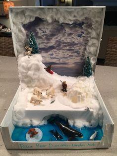 Krabice od topánok sa nájdu z času na čas u každého. Napokon, kto by si r… Ecosystems Projects, Science Projects, School Projects, Projects For Kids, Crafts For Kids, Project Ideas, Arctic Habitat, Bear Habitat, Shoe Box Diorama
