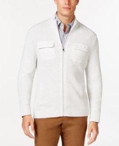 Alfani Men's Big and Tall Damon Texture Full-Zip Mock-Neck Sweater, Only at Macy's  - Gray 3XLT