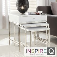 Inspire Q Kona Contemporary 1-Drawer Chrome Nesting Accent Table | Overstock.com Shopping - Great Deals on INSPIRE Q Coffee, Sofa & End Tabl...