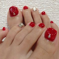 Red-Gold toe nail art nailbook.jp
