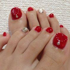 Red-Gold toe nail art nailbook.jp