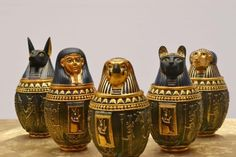 (59.99$)  Watch now - http://aincc.worlditems.win/all/product.php?id=32607493460 - Egyptian Canopic Jar Set of 5 - Hapi Duamutef Imseti Qebehsenuef Burial Urn Home Decor Statue Egypt 18cm height