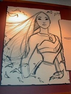 Pocahontas Drawing at Disney Animation Studio - I always loved Pocahontas. She has been my favorite Disney character since I was little. Cartoon Drawings, Drawing Sketches, Cool Drawings, Pretty Drawings, Drawing Faces, Drawing Tips, Drawing Ideas, Arte Disney, Disney Art