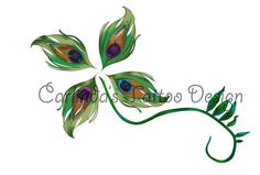 Peacock Feather Four Leaf Clover Tattoo Design by Ayearie.deviantart.com