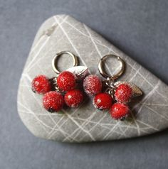 Glass Earrings  Red Berries by LikeAGlassShop on Etsy