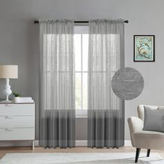 TURQUOIZE Faux Linen Semi-Sheer Curtains, rod pocket panels for Living... (€27) ❤ liked on Polyvore featuring home, home decor, window treatments, curtains, gray window treatments, grey curtains, gray curtains, grey window treatments and grey panels