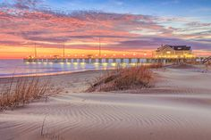 Early morning sunrise at Jennette's Fishing Pier in Nags Head North Carolina.
