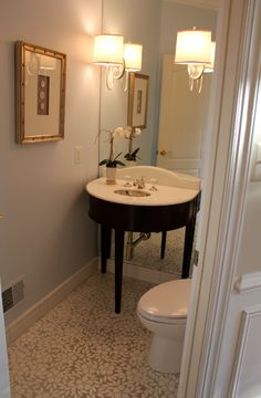 Half bath on pinterest powder rooms stencil and faux for Half bathroom designs small spaces