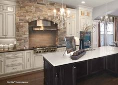 Country Ledgestone from Cultured Stone® is a versatile linear stone veneer that perfectly suits all ranges of applications. Featuring stark cut lines and rugged edges, Country Ledgestone adds character … Continued Kitchen Hoods, Stone Kitchen, Kitchen Stove, Kitchen Redo, New Kitchen, Kitchen Remodel, Kitchen Ideas, Walnut Kitchen, Kitchen Inspiration