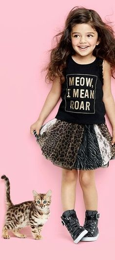 """Meow, I mean Roar"" Toddler girls' fashion Kids' clothes Tutu dress Graphic tank top Animal print The Children's Place Toddler Girl Style, Toddler Girl Outfits, Toddler Fashion, Kids Outfits, Kids Fashion, Cute Outfits, Fashion Clothes, Fashion Purses, Fashion Hats"