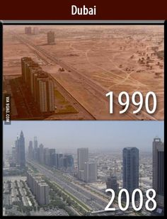 A photograph of Dubai in 1990 above another photograph of Dubai, from the same perspective, in 2008.