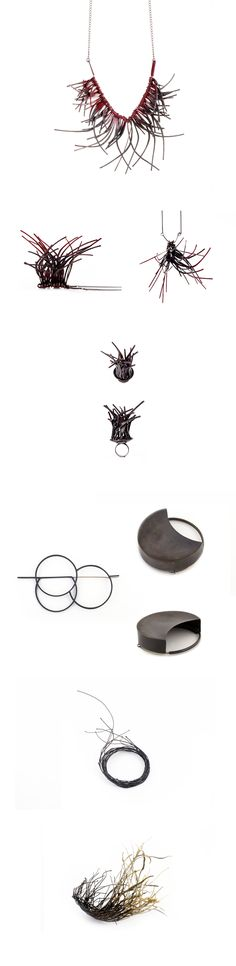 Conceptual pieces constructed in classic silversmith techniques made of sterling silver, brass, oxide and car paint.– Noy Alon Jewelry Design