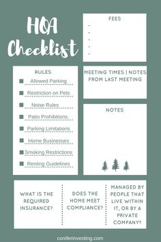 homeowner association checklist