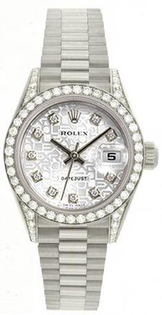 Ladies Rolex President 18k White Gold Diamond Watch