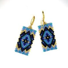 Peyote or Brick Stitch Earrings ; blue Navajo