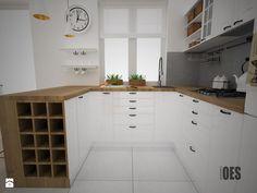 Projekt kuchni i salonu - Średnia otwarta kuchnia w kształcie litery u, styl skandynawski - zdjęcie od OES architekci