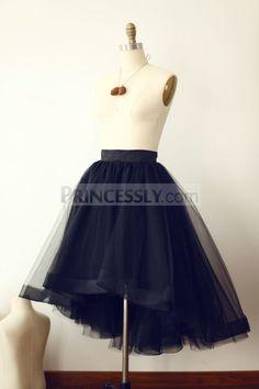 Black Tulle High Low Tulle Skirt/Short Woman Skirt