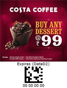 Costa Coffee - India Costa Coffee, Coupon, Beef, India, Desserts, Food, Meat, Tailgate Desserts, Goa India
