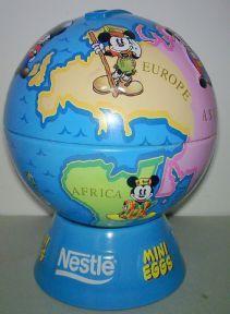 Post Vintage Disney Nestle Mini Eggs Mickey Mouse Money Box Bank Globe Tin, Circa 1990s £9 #FollowVintage