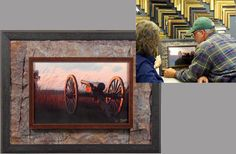 Custom framed photograph from Gettysburg, with a frame within a frame design surrounded by strips of copper for added texture. Happy customer!