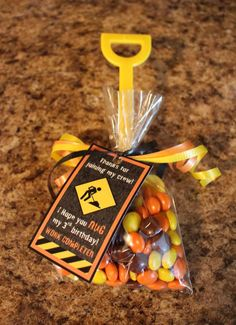 Shovel favors at a construction birthday party! See more party planning ideas at CatchMyParty.com!