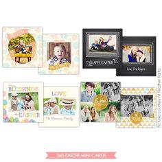 3x3 Easter Mini card templates   Springtime minis   Photoshop templates for photographers by Birdesign