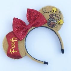 """Journey through the hundred acre wood in mouse ears inspired by Winnie the Pooh The headband we use measures approximately 4.75"""" across and 5.25"""" in height and fits adults and children. This band is flexible, has """"teeth"""" to help stay in place and is not too tight to cause headaches from prolonged wear. We market this as a one size fits most option, but may be wobbly for children under 4. A slightly smaller option is available for younger children. Please contact us should ... Diy Disney Ears, Disney Diy, Disney Crafts, Disney Magic, Minnie Mouse, Disney Mickey Ears, Disney Headbands, Ear Headbands, Fantasia Disney"""
