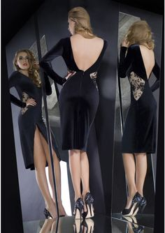 Shape a beautiful silhouette after dark in this elegant short cocktail dress. Masterfully draped, the velvet flatters the body curves, add a sexy split, low back cut and delicate lace inserts – this piece will make an exquisite statement. Short Cocktail Dress, Cocktail Dresses, Body Curves, Bateau Neckline, Stretch Satin, Lace Insert, After Dark, Lovely Dresses, Most Beautiful Women