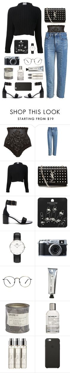 """soon"" by millicent4 ❤ liked on Polyvore featuring Triumph, Moschino, Yves Saint Laurent, Zimmermann, Topshop, Fujifilm, L:A Bruket, Le Labo, Byredo and Black Apple"