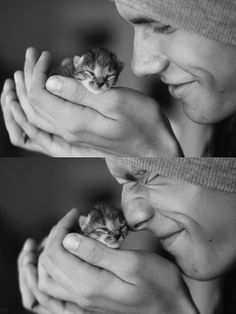 Oh my God. The kitten is so cute. And the boy is as well!