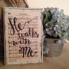 For Dad In the Garden Hymn Board by ImperfectDust on Etsy Cute Picture Frames, Picture Frame Crafts, Christian Decor, Christian Gifts, In The Garden Hymn, Hymn Art, Hymen, Christen, Diy Signs