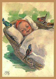 Jakub Schikaneder, Children's Book Illustration, Book Illustrations, Baby Mine, Believe In God, The Kingdom Of God, Baby Art, Old Postcards, Vintage Pictures