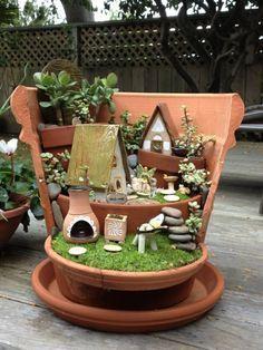 Blumentopf Deko -gestalten Sie Ihren Erwünschten Mini Garten Im ... Miniaturgarten Pflanzkubel Balkon