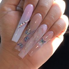 Acrylic Nails Coffin Pink, Simple Acrylic Nails, Square Acrylic Nails, Summer Acrylic Nails, Coffin Nails, Square Nails, Clear Acrylic, Dope Nail Designs, Cute Acrylic Nail Designs