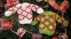 Miniature HandKnit Sweater Ornament Holiday by MaravillaKnits, $12.50