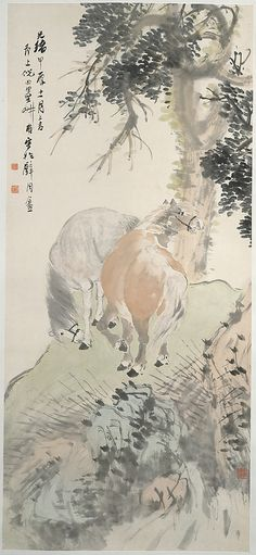 Ni Tian (Chinese, 1855–1919). Two Horses, dated 1904. The Metropolitan Museum of Art, New York. Gift of Robert Hatfield Ellsworth, in memory of La Ferne Hatfield Ellsworth, 1986 (1986.267.91) #horses