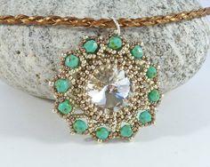 Beaded Rivoli Pendant  Bead Flower Necklace by BeauBellaJewellery