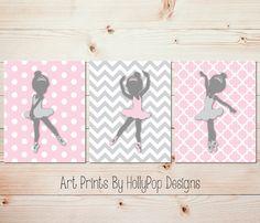 Pink Gray Ballerina Nursery Art Baby Girl por HollyPopDesigns